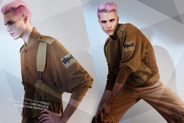 Male model Austin Kairis photographed in vintage Kansai by Alexander Thompson for Ponyboy magazine.