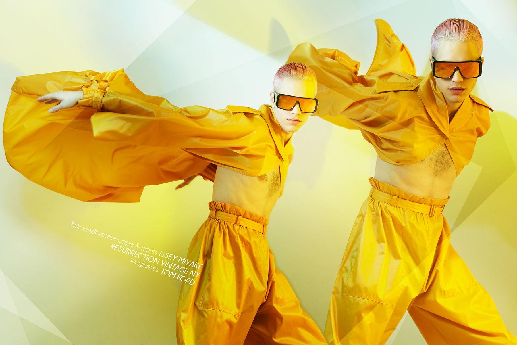 Model Austin Kairis photographed in vintage Issey Miyake by Alexander Thompson for Ponyboy magazine.