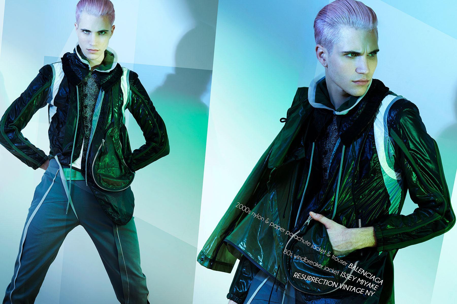 Model Austin Kairis photographed in vintage Balenciaga by Alexander Thompson for Ponyboy magazine.