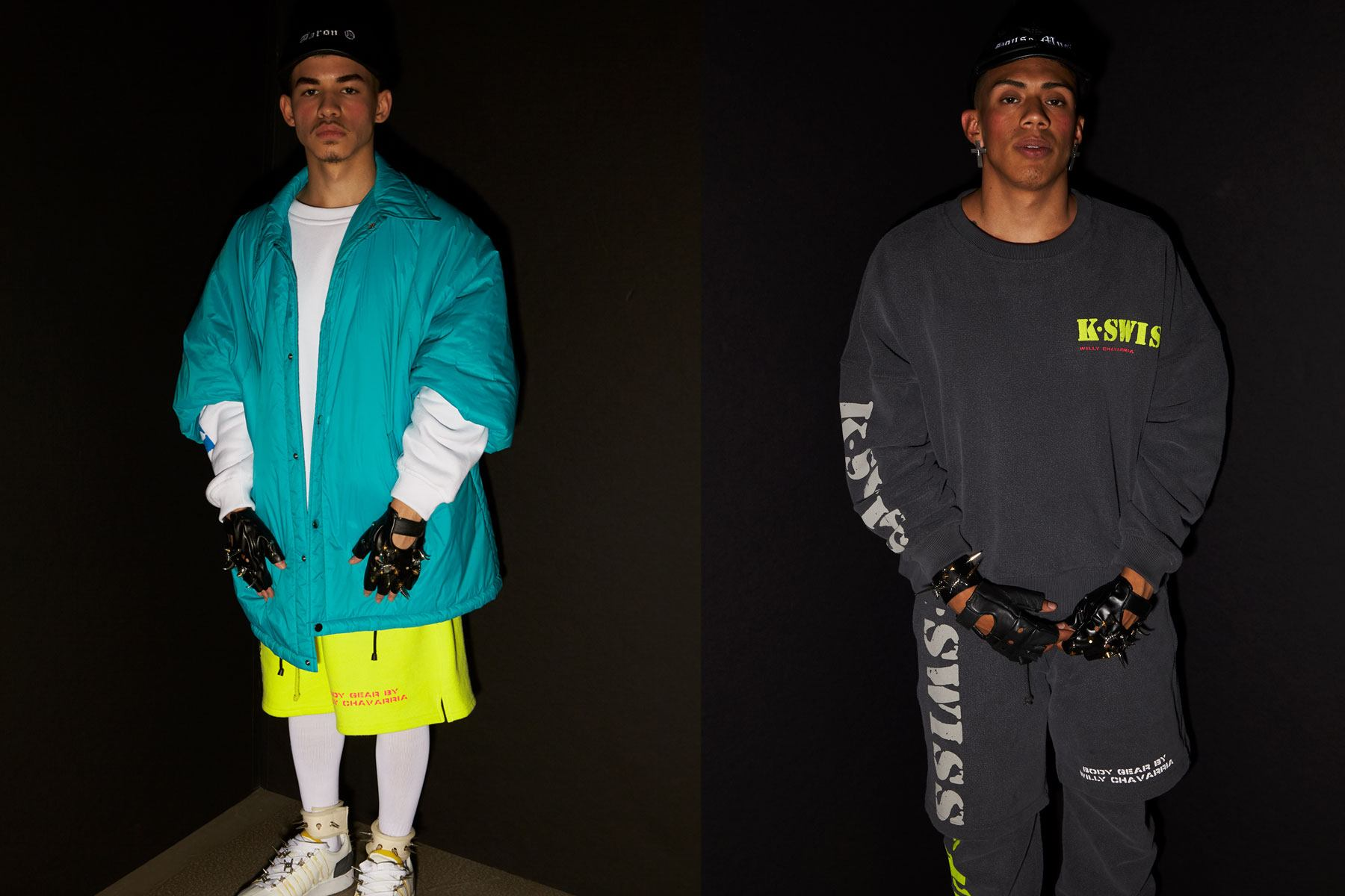 K-Swiss looks snapped backstage at the Willy Chavarria S/S 2020 show. Photography by Alexander Thompson for Ponyboy magazine.