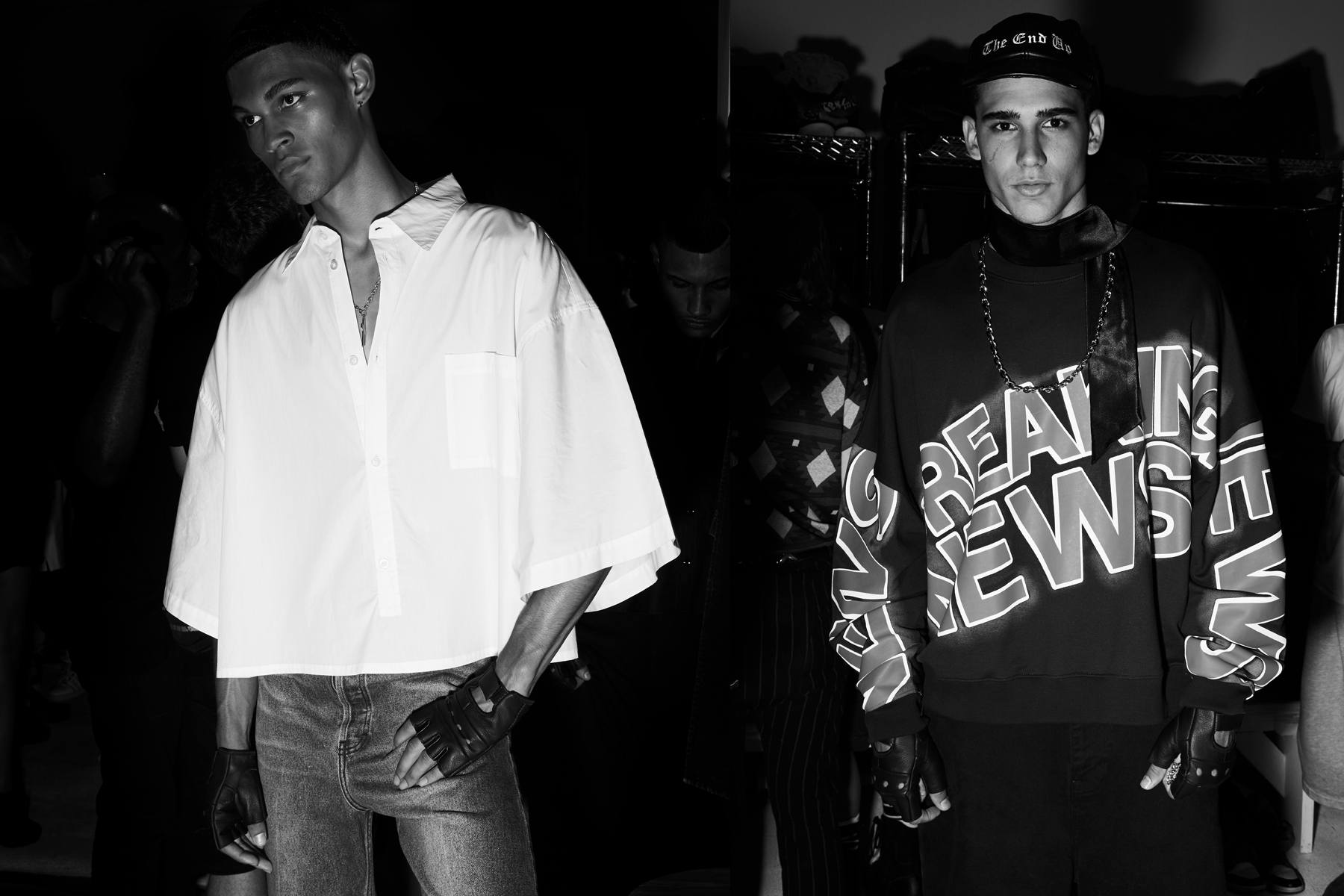 Backstage at the Willy Chavarria Spring/Summer 2020 menswear show. Photography by Alexander Thompson for Ponyboy magazine.