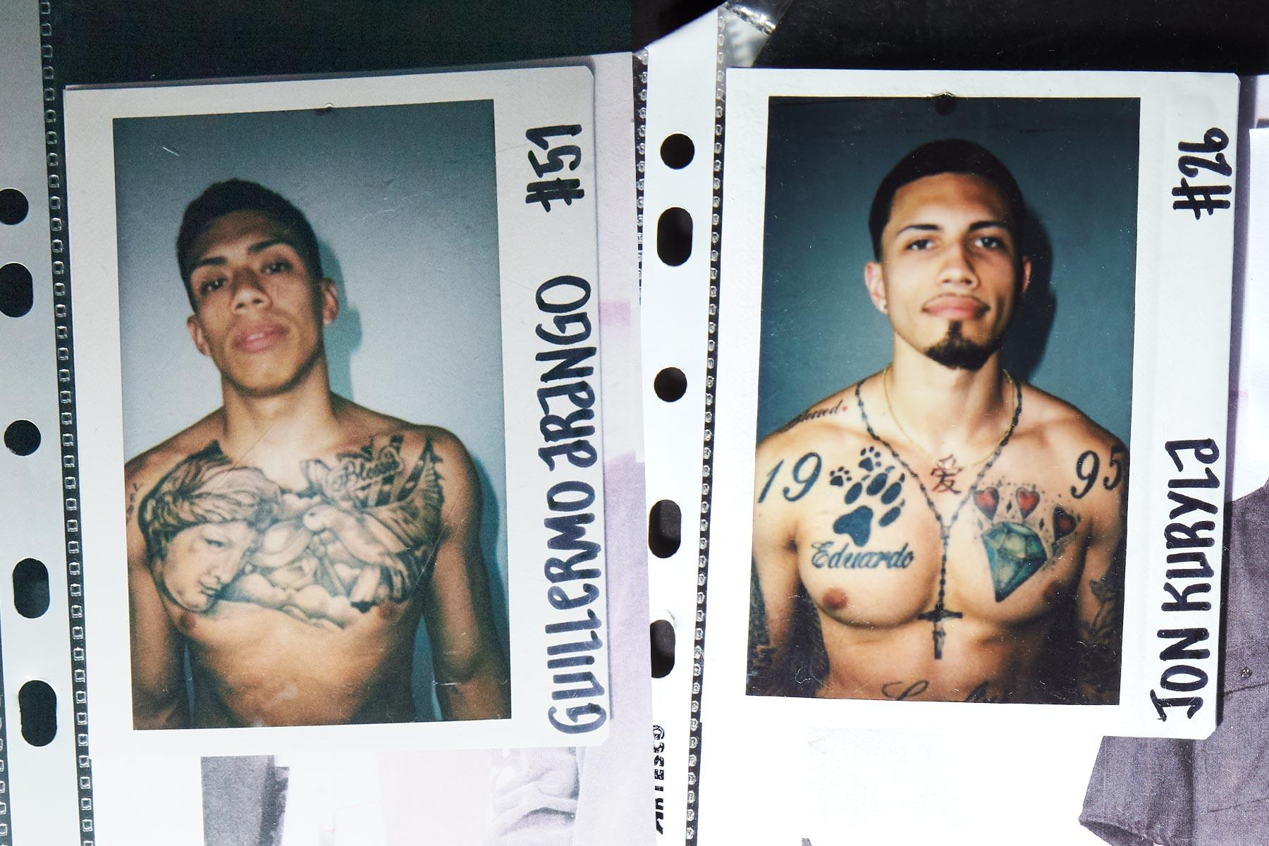 Polaroids of male models with tattoos from the Willy Chavarria Spring/Summer 2020 menswear show. Ponyboy magazine.