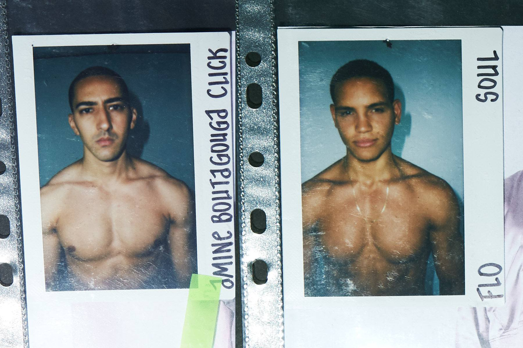 Polaroids of models from the Willy Chavarria Spring/Summer 2020 menswear show. Ponyboy magazine.