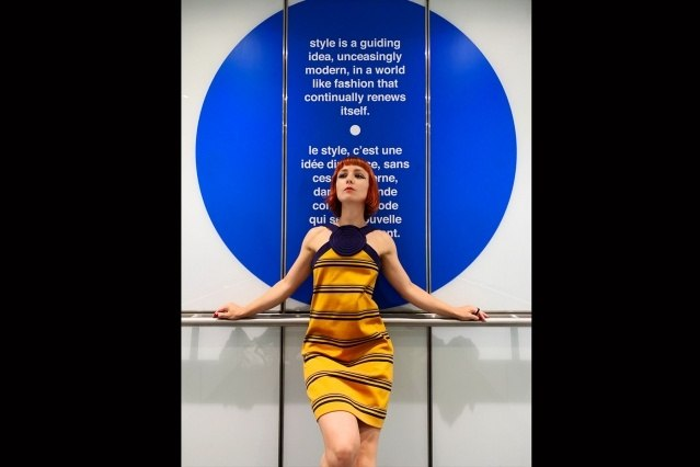 Designer Amber Doyle photographed in vintage Pierre Cardin at the Brooklyn Museum. Photography by Alexander Thompson for Ponyboy magazine.