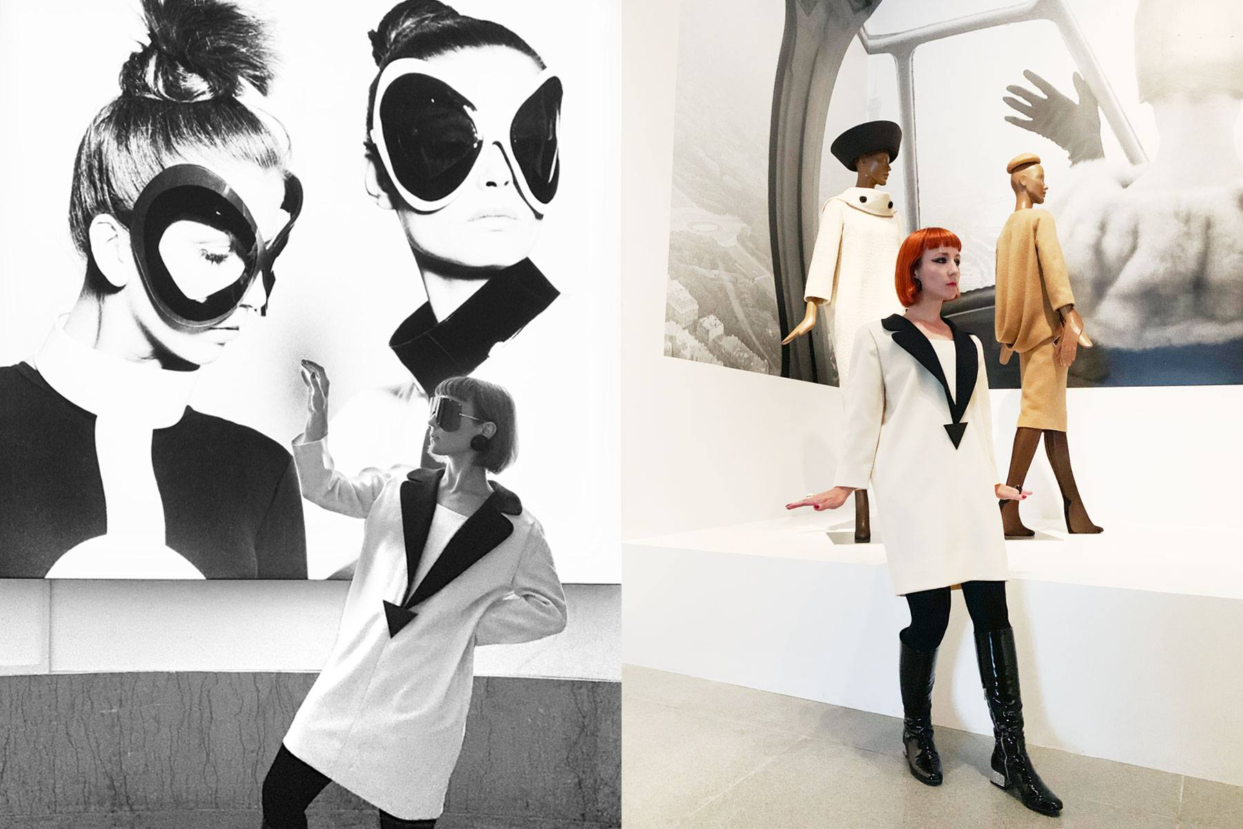 New York City designer Amber Doyle photographed in vintage Pierre Cardin at the Brooklyn Museum. Photography by Alexander Thompson for Ponyboy magazine.