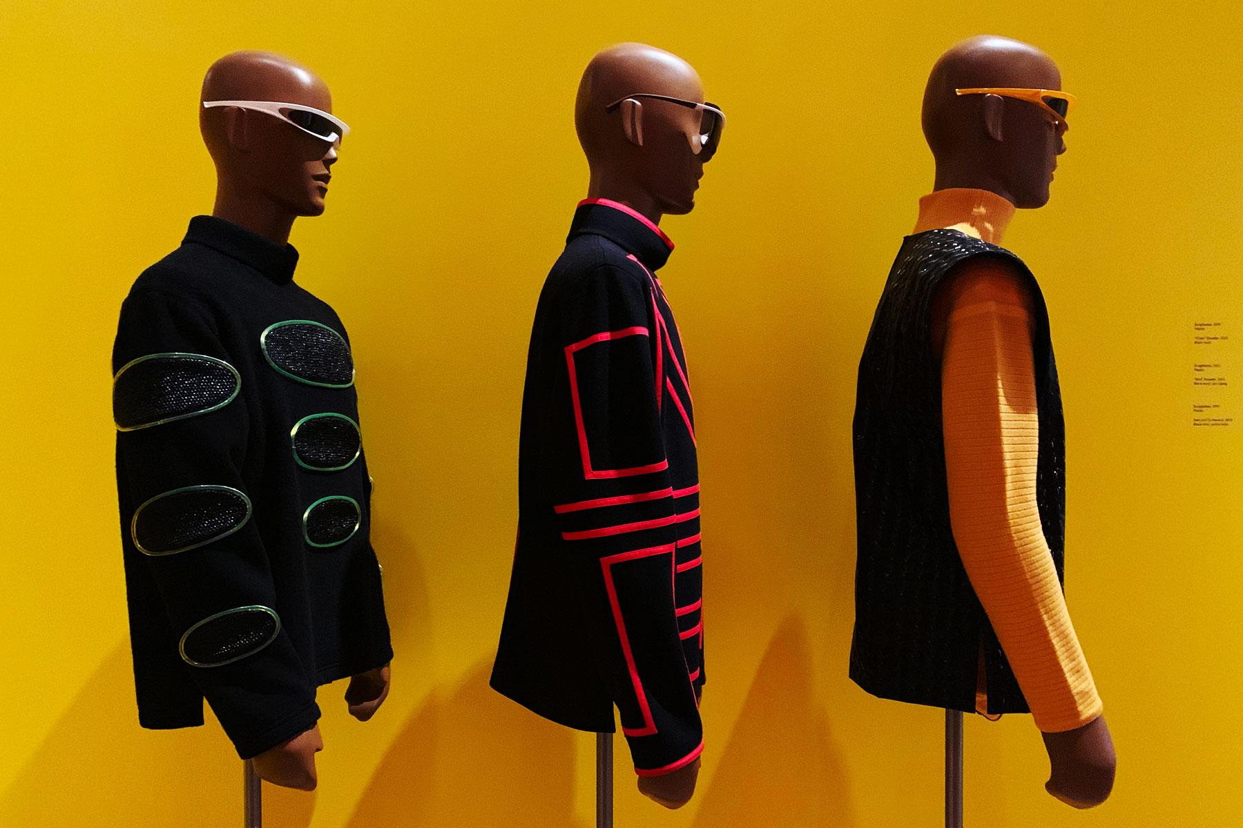 Vintage Pierre Cardin avant garde jackets and sunglasses at the Brooklyn Museum. Photographed by Alexander Thompson for Ponyboy magazine.