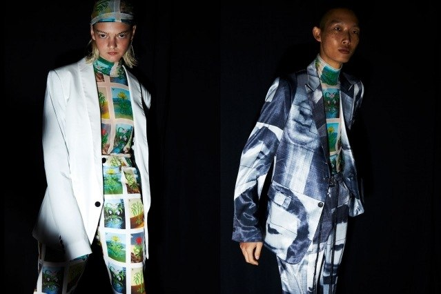 Models in printed graphic suits pose backstage at the Dirty Pineapple S/S 2020 collection in New York City. Photography by Alexander Thompson for Ponyboy magazine.