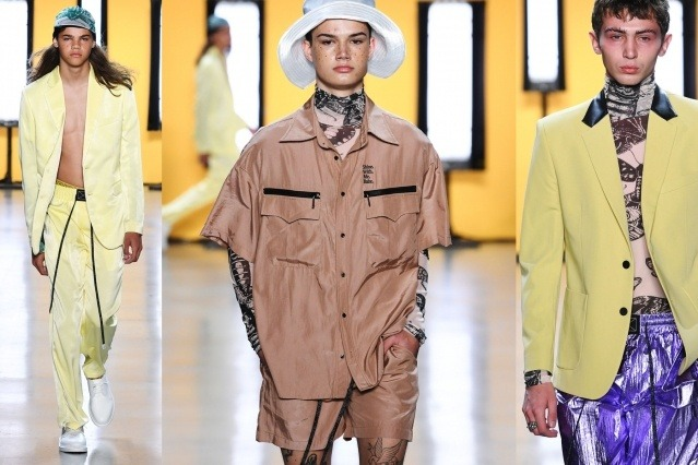 Male models on the runway for Dirty Pineapple Spring/Summer 2020. Ponyboy magazine.