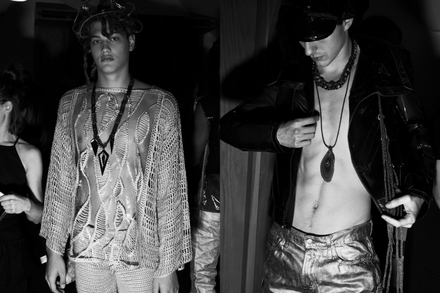 Black & white images of male models backstage at Fix & Fax by Katya Leonovich. Spring 2020. Photography by Alexander Thompson for Ponyboy magazine.