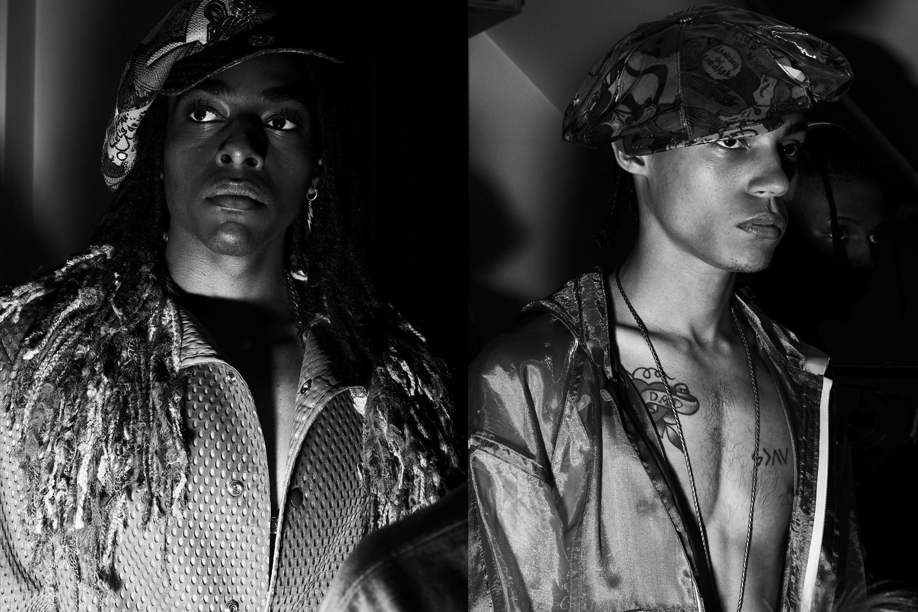 B&W images of male models backstage at Fix & Fax by Katya Leonovich. Spring 2020. Photography by Alexander Thompson for Ponyboy magazine.