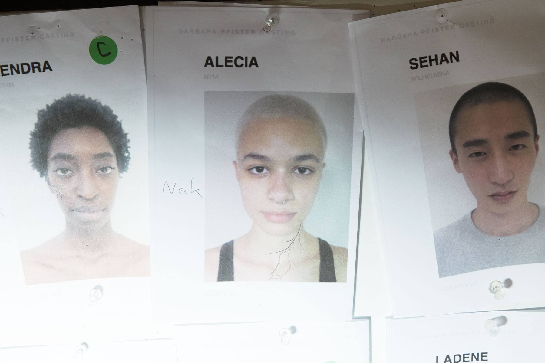 Model's cards backstage at the threeASFOUR S/S 2020 runway show. Ponyboy magazine.