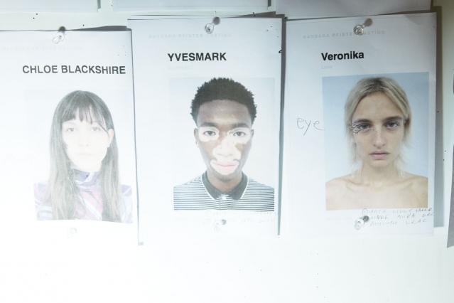 Model's cards backstage at threeASFOUR S/S 2020. Ponyboy magazine.