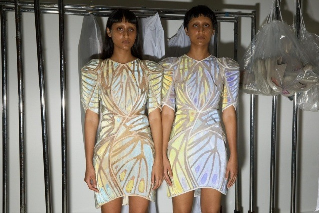 Twin models photographed backstage at the threeASFOUR Spring/Summer 2020 runway show. Photographed by Alexander Thompson for Ponyboy magazine.