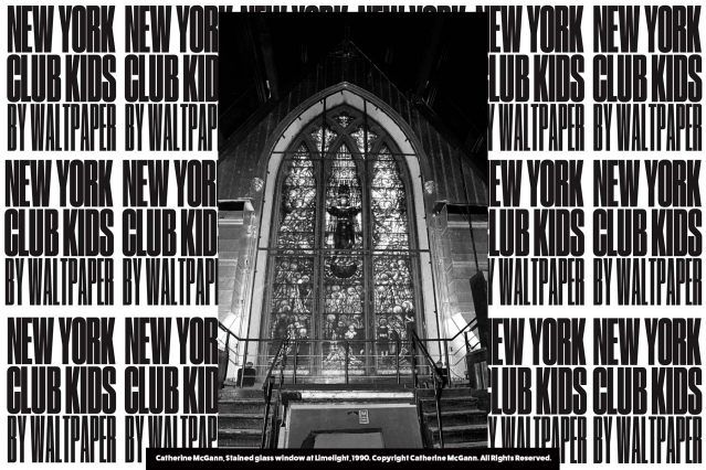 Stained glass window at Limelight, 1990. Photograph by Catherine McGann. Courtesy of New York Club Kids by Waltpaper. Ponyboy magazine.