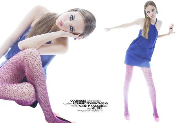 Model Hannah James photographed in a vintage Courreges linen dress by Alexander Thompson for Ponyboy magazine.