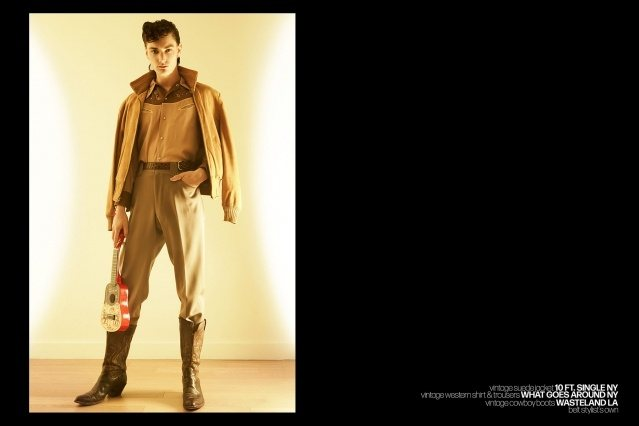 Male model Bart-Jan Mulder photographed in vintage western wear for Ponyboy magazine by Alexander Thompson.
