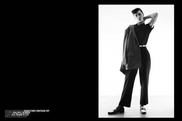 Model Bart-Jan Mulder photographed in vintage menswear for Ponyboy magazine by Alexander Thompson.