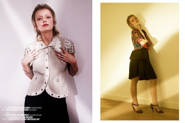 Artist Sophie Thunder-Murphy photographed in vintage Stephen Burrows by Alexander Thompson for Ponyboy magazine.