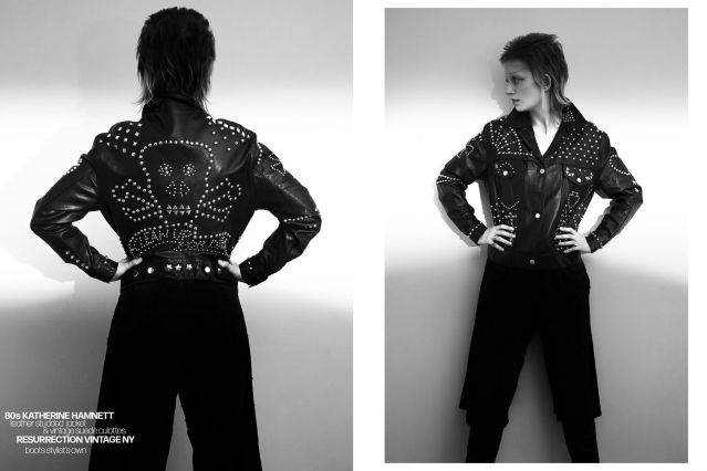 Artist Sophie Thunder-Murphy photographed in vintage Katherine Hamnett by Alexander Thompson for Ponyboy magazine.