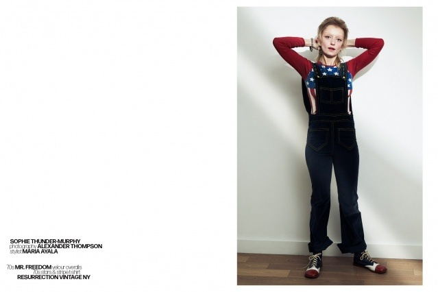 Artist Sophie Thunder-Murphy photographed in vintage Mr. Freedom overalls by Alexander Thompson for Ponyboy magazine.