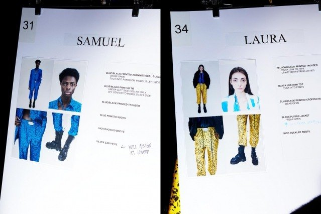 Model's dressing cards snapped backstage at Dirty Pineapple F/W 2020. Photography by Alexander Thompson for Ponyboy magazine.