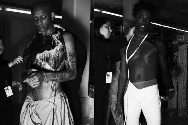Male models backstage at the NIHL runway show in New York City for Fall/Winter 2020. Photography by Alexander Thompson. Ponyboy magazine.