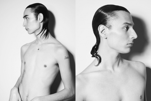 Slicked back hair on male models, backstage at NIHL F/W 2020. Photography by Alexander Thompson for Ponyboy magazine.