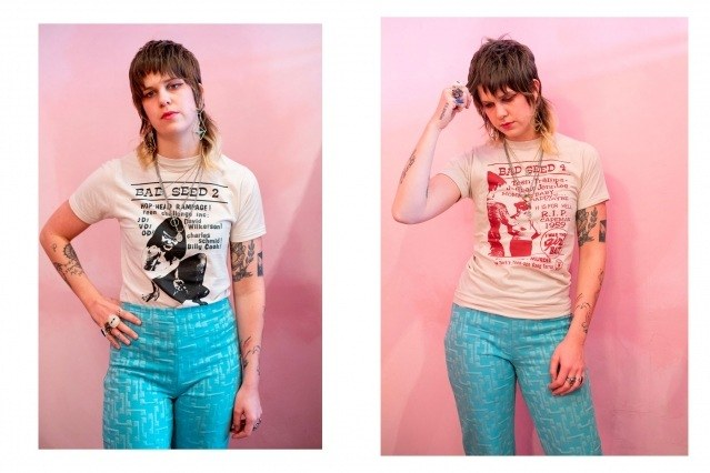 Caroline Anderson wears Bad Seed t-shirt for Rock Roll Repeat.