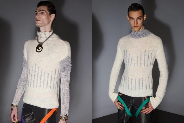 Male models photographed in knitwear backstage at the Fix & Fax show for Fall 2020 at Pier 59 Studios. Photography by Alexander Thompson for Ponyboy magazine.