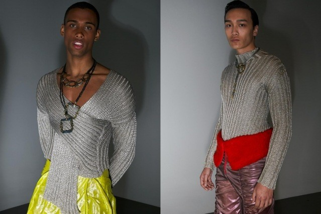 Male models in knitwear photographed backstage at the Fix & Fax show for Fall 2020 at Pier 59 Studios. Photography by Alexander Thompson for Ponyboy magazine.