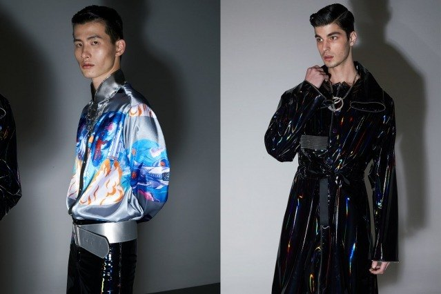 Male models photographed before walking backstage at the Fix & Fax show for Fall 2020 at Pier 59 Studios. Photography by Alexander Thompson for Ponyboy magazine.