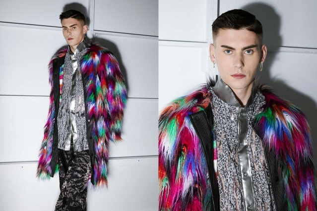 A male model photographed in a colorful fake fur backstage at the Fix & Fax show for Fall 2020 at Pier 59 Studios. Photography by Alexander Thompson for Ponyboy magazine.