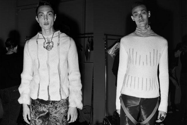 Male models photographed in sweaters backstage at the Fix & Fax show for Fall 2020 at Pier 59 Studios. Photography by Alexander Thompson for Ponyboy magazine.