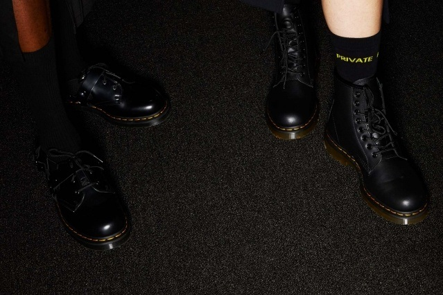 Dr. Martens boots backstage at Private Policy for Fall/Winter 2020. Photographed by Alexander Thompson for Ponyboy magazine.
