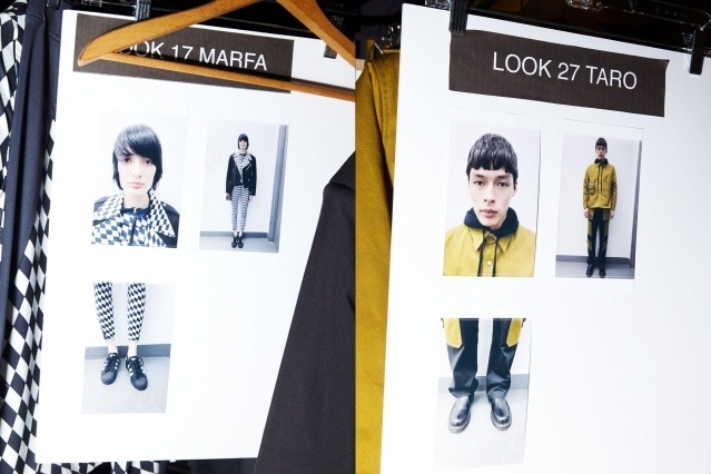 Models dressing cards photographed backstage at Private Policy Fall/Winter 2020 show. Photography by Alexander Thompson for Ponyboy magazine.