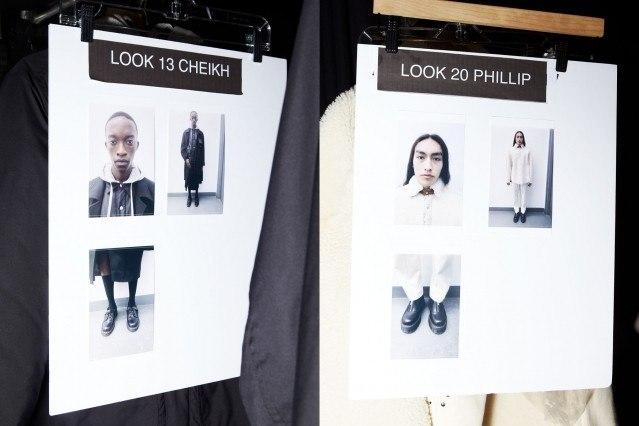 Models dressing cards snapped backstage at Private Policy Fall/Winter 2020 show. Photography by Alexander Thompson for Ponyboy magazine.