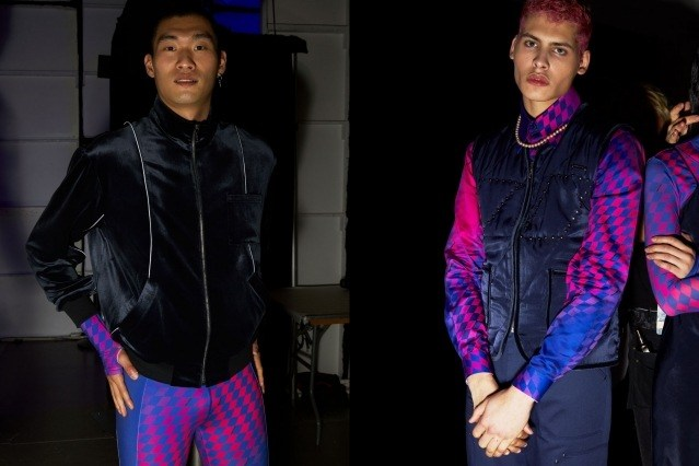 Male models Kamui T & Ajna Mani photographed backstage at the Private Policy Fall/Winter 2020 show by Alexander Thompson for Ponyboy magazine.