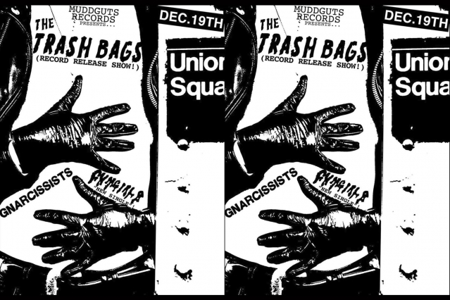 The Trash Bags record release show flyer.