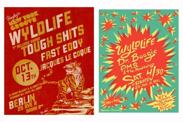 Flyers by Spencer Alexander for WYLDLIFE band. Ponyboy magazine.