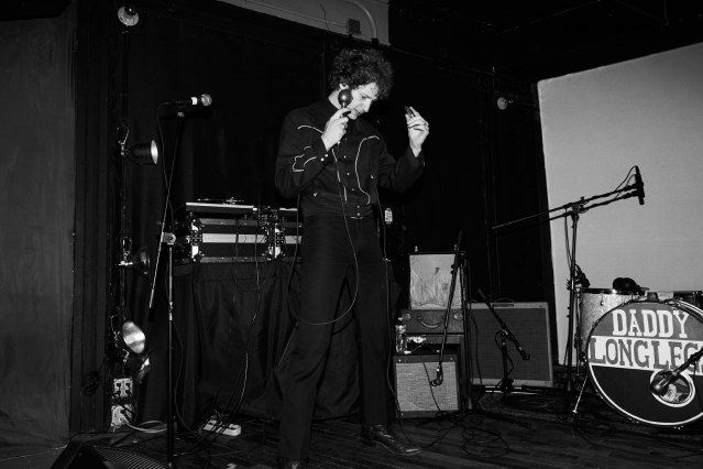 Musician Brian Hurd from DADDY LONG LEGS photographed onstage at Market Hotel in Brooklyn NY. Photography by Alexander Thompson for Ponyboy magazine.