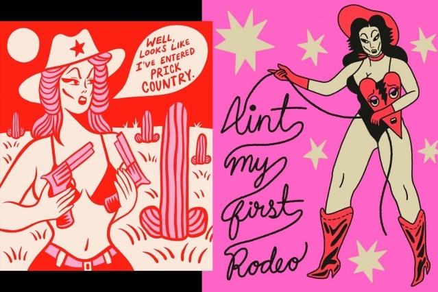 Cowgirl artwork by illustrator Ruth Mora. Ponyboy magazine.
