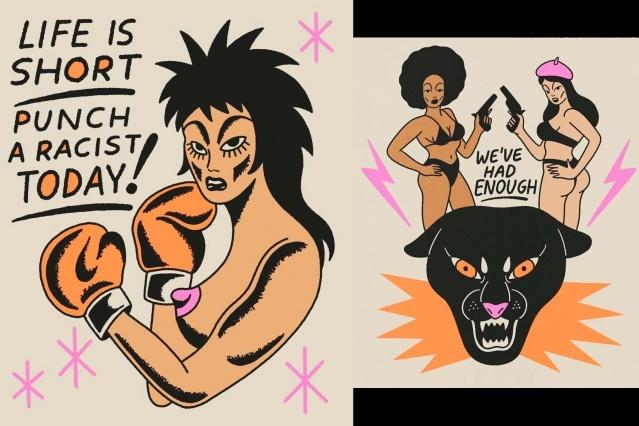 Anti-racist artwork by West Coast artist Ruth Mora. Ponyboy magazine.