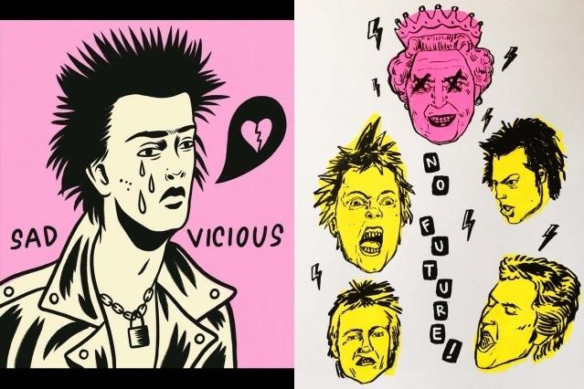 Sex Pistols artwork by Ruth Mora. Ponyboy magazine.