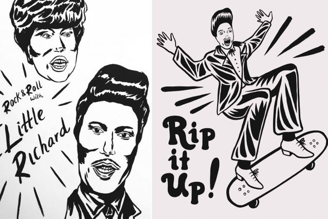 Little Richard illustrations by West Coast artist Ruth Mora. Ponyboy magazine.