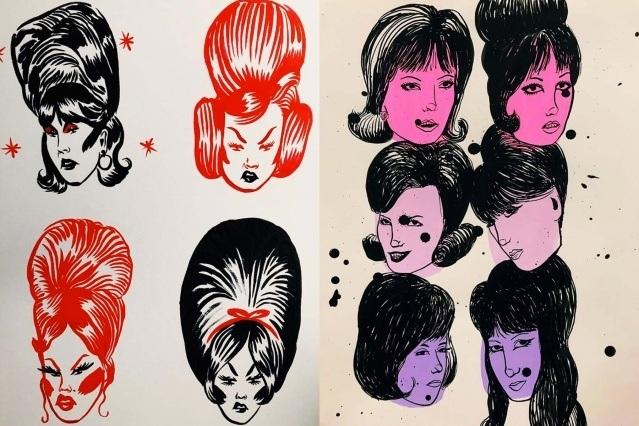 Bouffant illustrations by artist Ruth Mora. Ponyboy magazine.