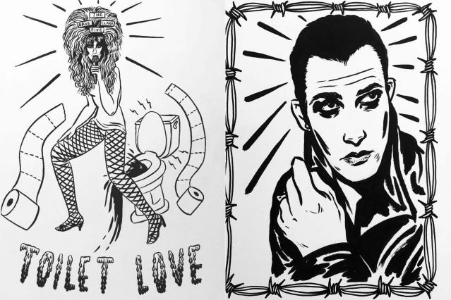 Illustrations of Jayne County and Dave Vanian by artist Ruth Mora. Ponyboy magazine.