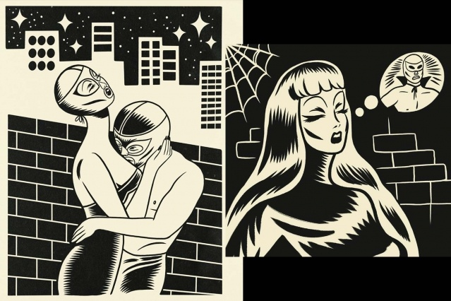 Black and white illustrations by Ruth Mora. Ponyboy magazine.