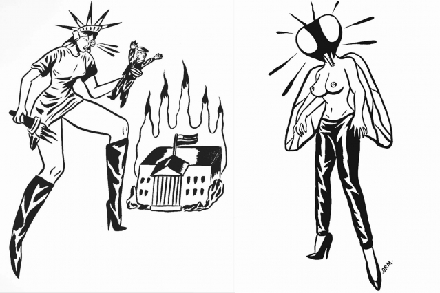 Anti-Trump and Human Fly illustrations by artist Ruth Mora. Ponyboy magazine.