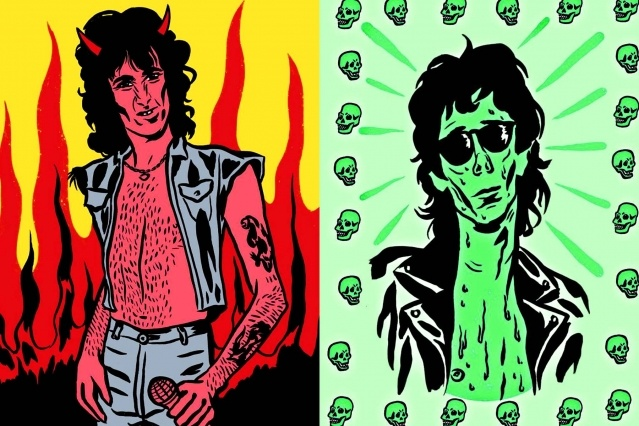 Illustrations of Bon Scott and Stiv Bators from artist Ruth Mora. Ponyboy magazine.