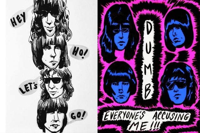 The Ramones artwork by West Coast artist Ruth Mora. Ponyboy magazine.